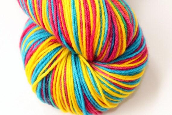 "Self Striping Sock Yarn, Superwash Merino, Cashmere and Nylon Fingering Weight, in ""Crayons"""