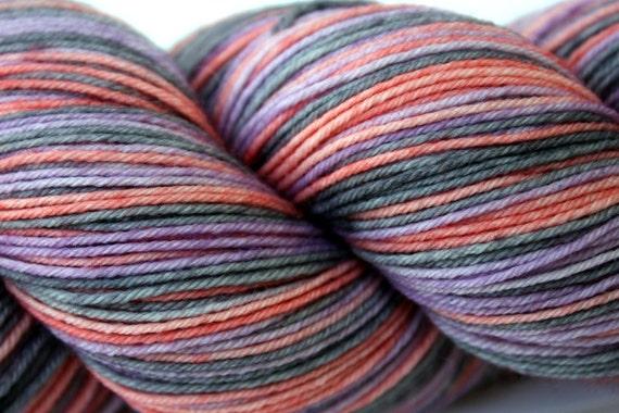 """Not Quite Perfect:  Self Striping Sock Yarn, Superwash Merino and Nylon 75/25 Fingering Weight, in """"Mesa Sunrise"""""""