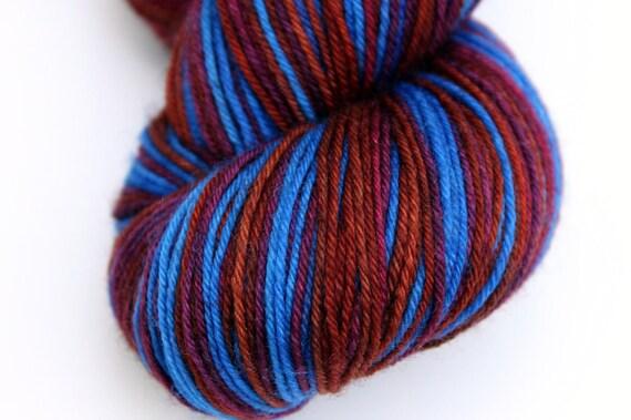 "Self Striping Sock Yarn, Superwash Merino and Nylon 75/25 Fingering Weight, in ""Plaid"""