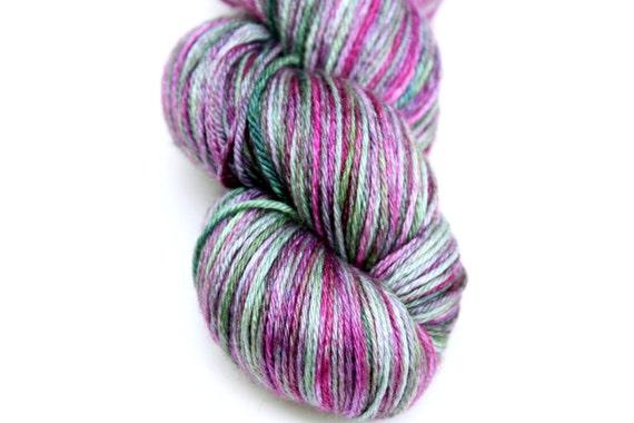 "Kettle Dyed Sock Yarn, Superwash Merino and Silk Fingering Weight, in ""Hellebore"""