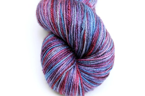 "Kettle Dyed Sock Yarn, Superwash Merino and Silk Fingering Weight, in ""Boysenberry"""