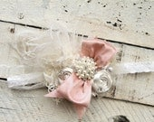 Fancy Girl Newborn Shabby Chic Bow On Lace band