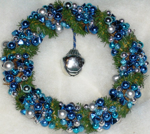 New Lower Price...Cute Litle 6 1/2in. Silver & Blue Beaded Grapevine Wreath