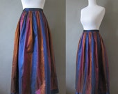 RUMMAGE SALE // vintage 1980s silk taffeta colorful striped maxi skirt (was 58.00)