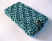 Handknit teal blue textured soft iPhone cozy with button