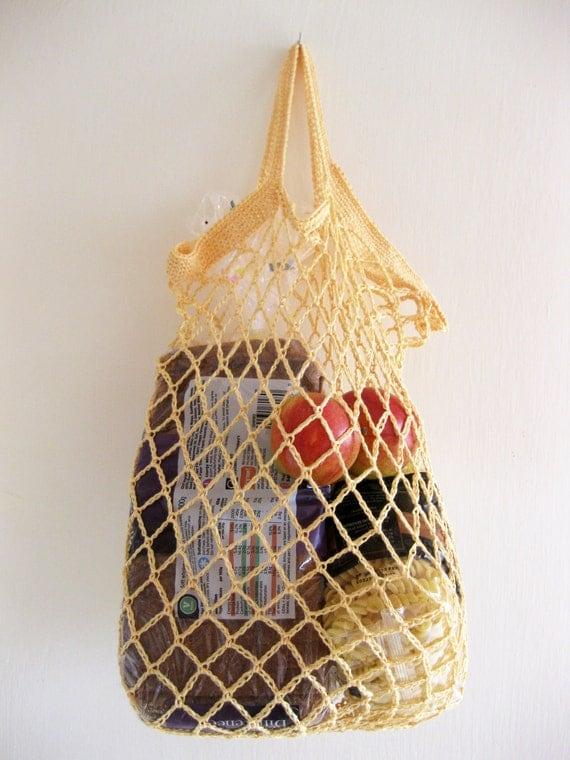 Crochet linen mesh string bag / market bag / produce bag in pale yellow