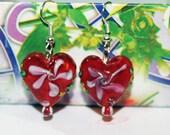 Glass Earrings Murano lampwork - HEART