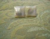 Vintage Mother of Pearl Square Button Earrings