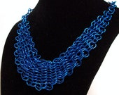Blue Bib Necklace / Chainmaille Choker - Adjustable