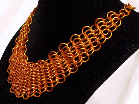 Orange Bib Necklace / Chainmaille Choker - Adjustable
