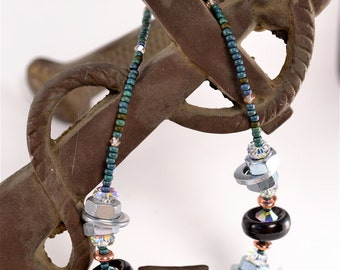 Industrial Chic Unique and Colorful Art Necklace