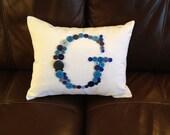 Custom Button Monogram Pillow