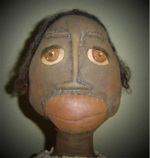 Sale 32 Black Grungy Extreme Primitive Art Doll Dove By