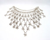 Vintage Silver Metal Bib Necklace