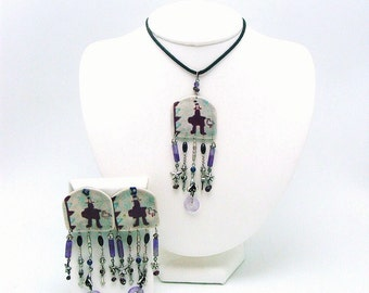 Vintage Southwest Style Silver and Ceramic Pendant and Matching Post Earrings