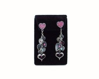 "Vintage ""1928 Jewelry Company"" Dangling Hearts Post Earrings"
