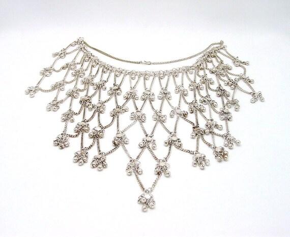 Reserved for GardenerDyeWorks - Vintage Silver Metal Bib Necklace