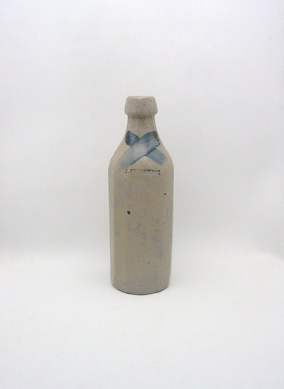 "Antique 12 Sided Stoneware Bottle Impress A. Steinmetz with Cobalt ""X"""