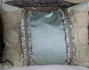 SALE / IN STOCK / Ruffle and Ribbon Pillow Cover/ 16X20 / celdon, green, and beige upholstery fabric, taupe ribbon