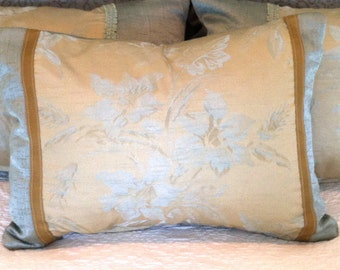 SALE  / IN STOCK /  Floral Decorative Pillow Cover / 12 X 16 / Celedon and citron upholstery with gold ribbon trim