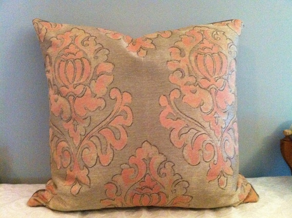Euro Sham / 27 X 27 Pillow cover with taupe and peach damask upholstery and taupe velvet back