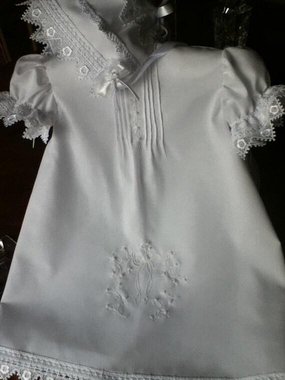 Christening Handmade baby girl short gown/ custom order