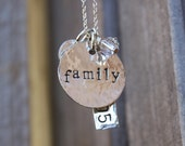 Family necklace with initial and EST date