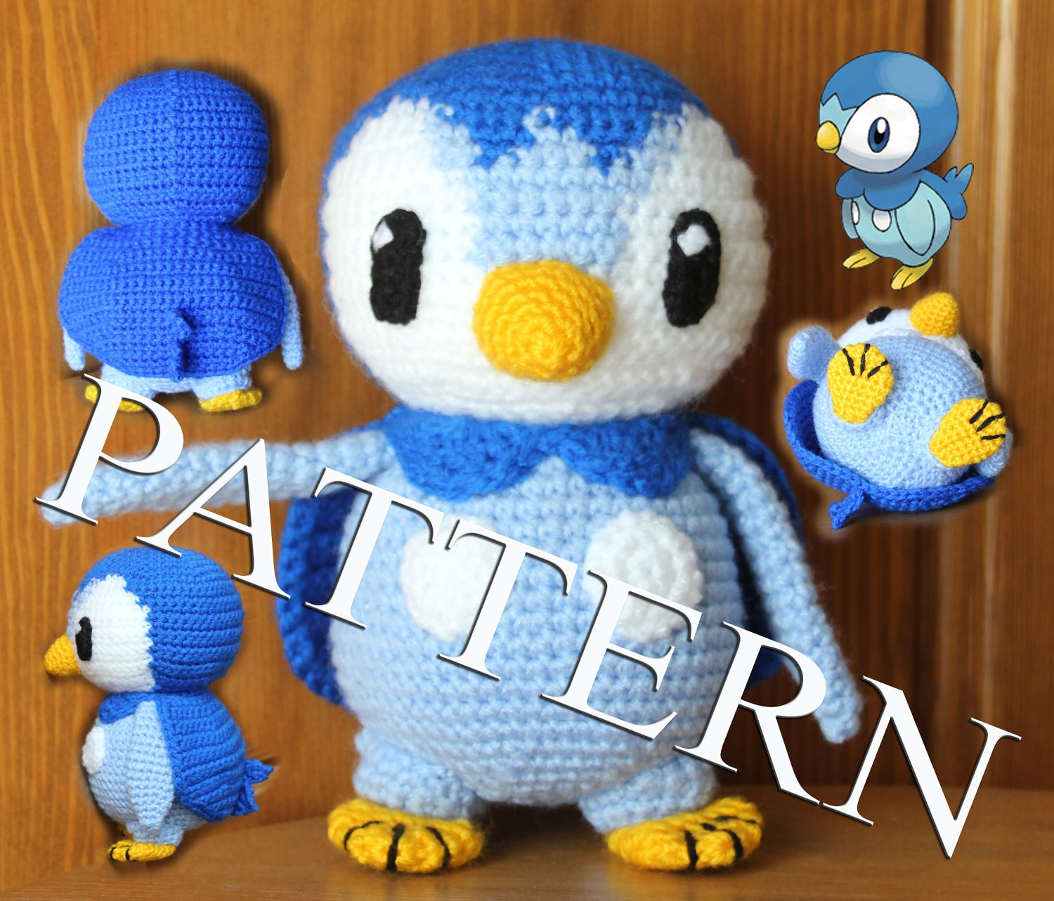 Crochet Patterns Pokemon Characters : Crochet Pokemon Piplup pattern in PDF
