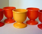 1960's Mod Retro Emsa West Germany Plastic Egg Cups Set of 5 Red Orange Yellow