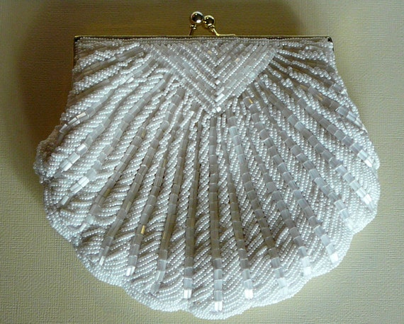 SALE- Beautiful 1950s White Glass Beaded Clutch Evening Purse Bag Scalloped