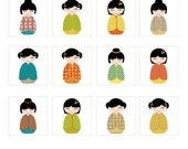 Kokeshi Dolls 1 inch Printable Digital Sheet (48 1 Inch Squares)