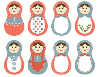 matryoshka dools (Babushka dolls), Russian Digital Clipart (8 PNG files)