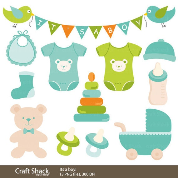 Items Similar To It S A Boy Clipart Baby Boy Blue Green
