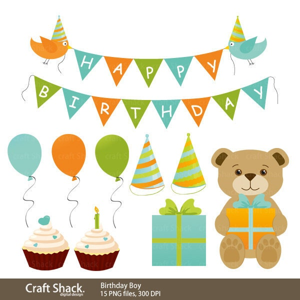 Cartoon birthday boy clipart illustration
