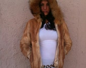 Vtg Autumn Haze Rabbit with RED FOX fur Hooded Parka Fur Coat