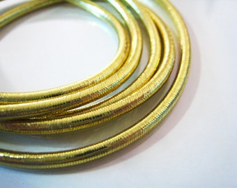 1 Yard of Metallic Gold Round Stretch Elastic Drawcord Rope Cord ( 1mm Width )