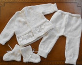 Boys Handknit Baptism Christening Outfit OOAK White Baby Set Sweater Pants Booties