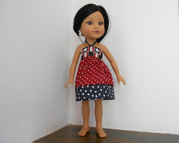"Hearts for Hearts Doll Clothes Red White and Blue Sun Dress (or Skirt) for H4H or Similar 13-14"" Dolls Betsy McCall, Les Cheries,Groovy Girl"