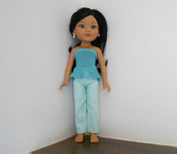 """Adorable in Aqua Pants and Knit Top or Skirt for 13-14"""" Dolls Groovy GIrls, Hearts for Hearts, Betsy McCall, Corolle Les Cheries"""