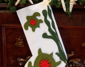 Coastal Christmas Stocking - SEASIDE TURTLES Free Shipping Until Dec 1
