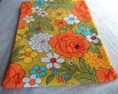 Vintage 1960s Mod Floral Print Fabric Tablecloth