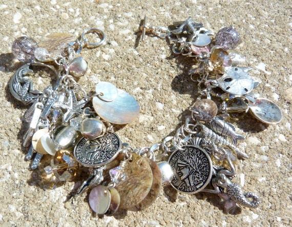 MERMAIDS BEACH Sea Themed Mermaid OOAK Charm Bracelet