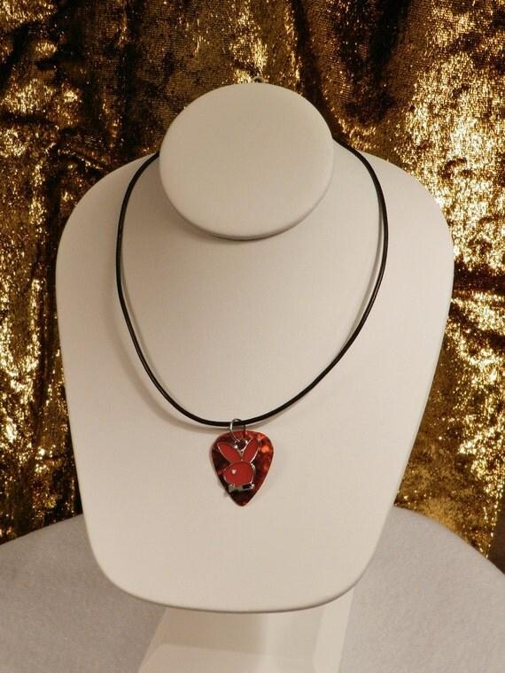 Playboy Rabbit Guitar Pick Necklace - RETRO RED