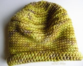 Crochet Baby Hat Yellow Green Infant Beanie Winter Wool