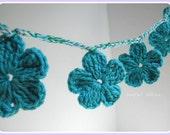 Crochet Flower Garland Handmade Wall Hanging Flower Decoration Cotton Crochet Flower Home Decor
