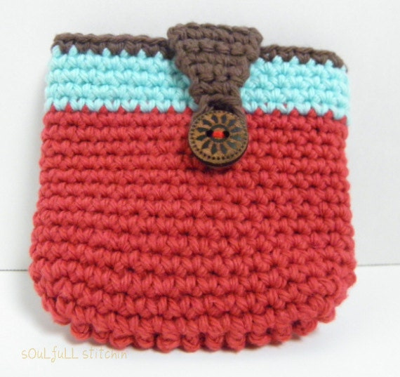Red Crochet Pouch Handmade Wallet Clutch Gift Pouch