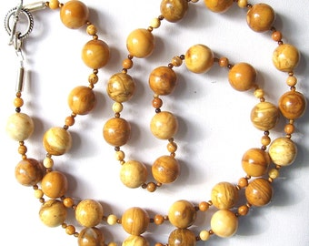 Tiger Skin  Yellow Jasper and Sterling Silver Long Necklace