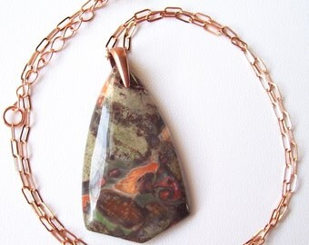 Multicolored Spiderweb Agate Pendant on Copper Chain
