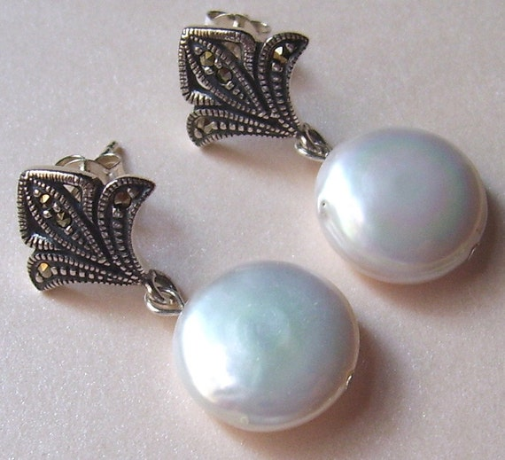 AA Coin Pearl Post Earrings with Sterling Silver and Marcasite Fleur de Lis