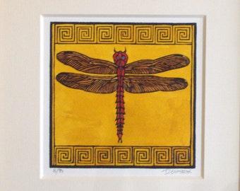 "Craftsman ""Dragonfly"" Original Linocut"